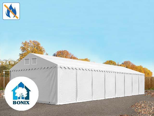 Professzionális raktársátor,tároló 6x16 m ponyva tűzálló PVC 550 g/m² 2,6 m erősített szerk.  fehér