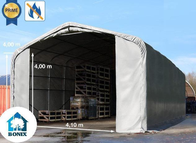 Professzionális tűzálló 6x24m raktársátor 4,0 m oldalmagasság, ponyva 720g/m2  PVC, kapu 4,1x4,0 m