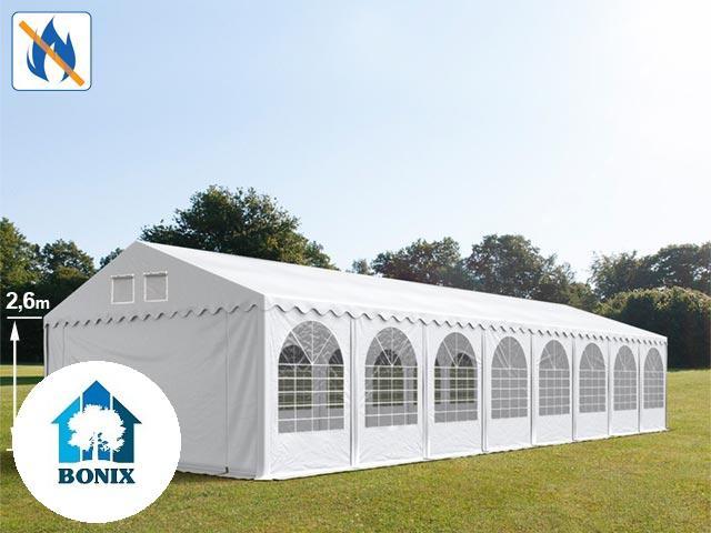 Professzionális tűzálló extra erős rendezvénysátor 6x16 m, ponyva PVC 550g/m2 fehér + 2,6m, erősített szerkezet
