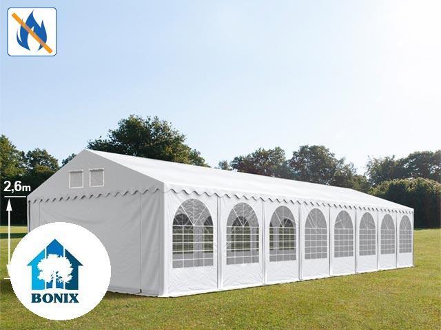 Professzionális tűzálló extra erős rendezvénysátor 6x22 m, ponyva PVC 550g/m2 fehér + 2,6m, erősített szerkezet