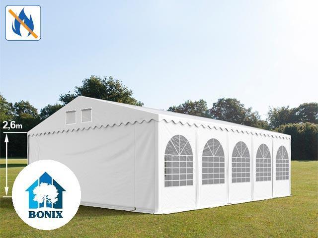 Professzionális tűzálló extra erős rendezvénysátor 7x10 m, ponyva PVC 550g/m2 fehér + 2,6m, erősített szerkezet