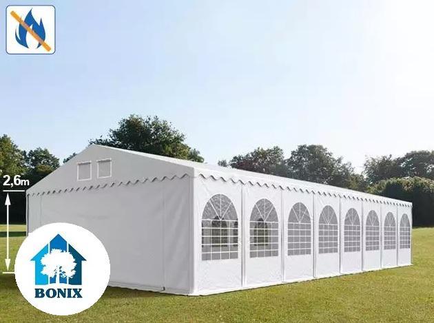 Professzionális tűzálló extra erős rendezvénysátor 7x20 m, ponyva PVC 550g/m2 fehér + 2,6m, erősített szerkezet