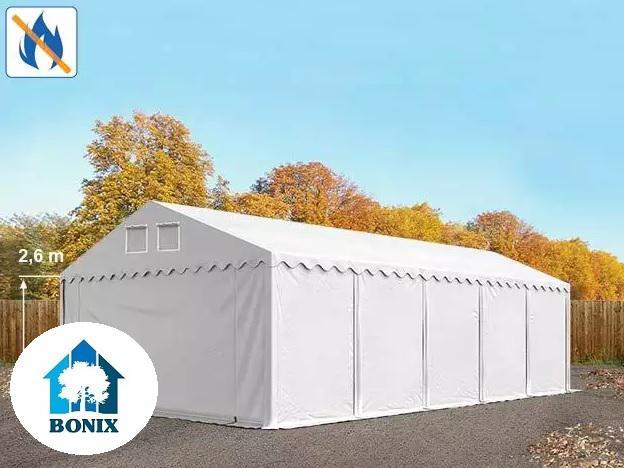 Professzionális tűzálló raktársátor, tároló sátor 6x10m ponyva 550g/m2 +2,6 m + Padlókeret fehér