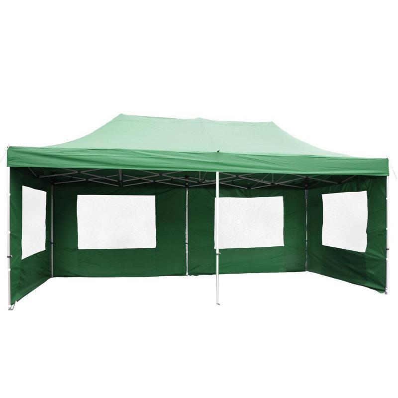 PROFI Alumínium szerkezetes pop-up összecsukható pavilon rendezvénysátor 3x6 m zöld Ponyva 270 g/m2