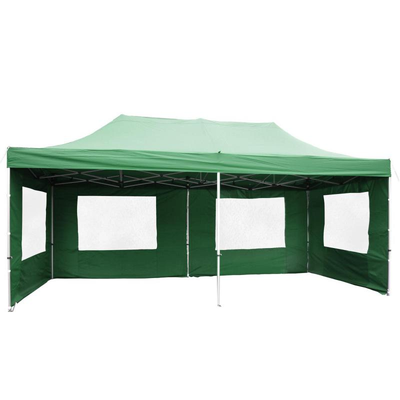 PROFI Alumínium szerkezetes pop-up összecsukható pavilon rendezvénysátor 6x3 m zöld Ponyva 270 g/m2