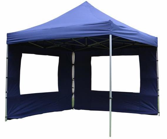 PROFI alumínium szerkezetes pop-up  pavilon,  rendezvénysátor 3x3 m 4db oldalfallal 270g/m2 kék