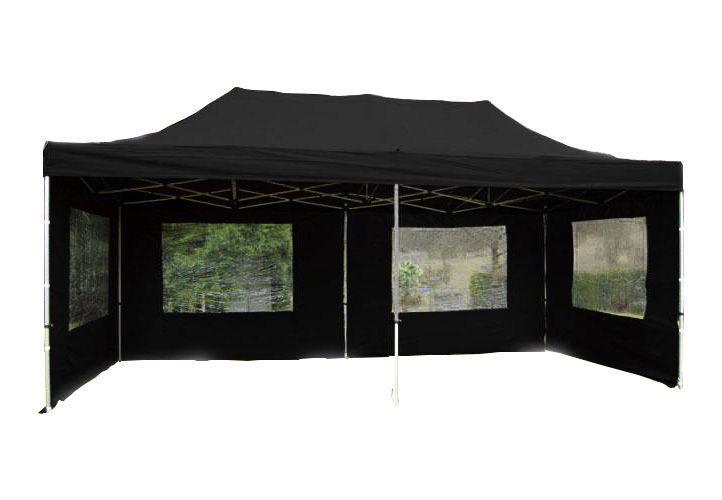PROFI Alumínium szerkezetes pop-up pavilon rendezvénysátor 6x3 m fekete Ponyva 270 g/m2