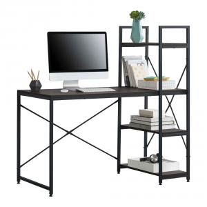 Íróasztal, számítógépasztal polccal fekete/dió