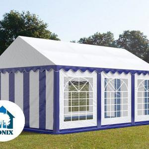 Professzionális rendezvénysátor 3x6 m, ponyva PVC 500g/m2 kék-fehér