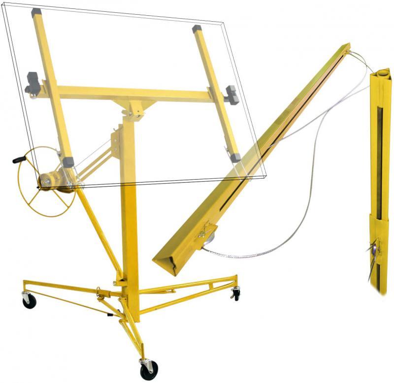 XXL Gipszkarton emelő, paletta emelő állítható magasság 4,65 m-ig sárga színben