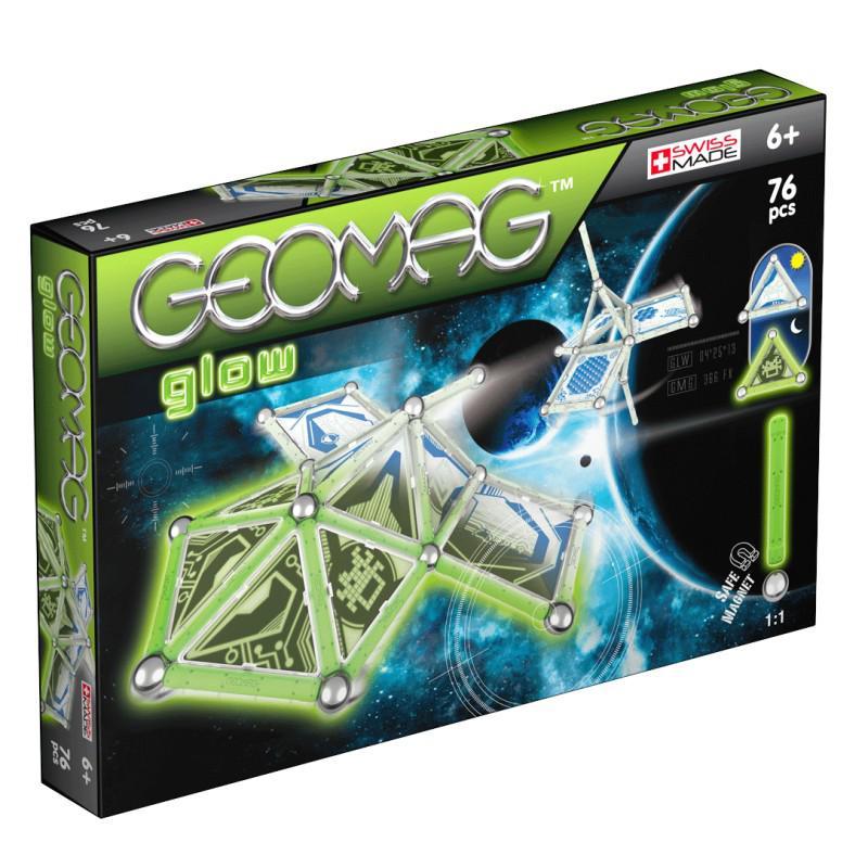 Geomag Glow Foszforeszkáló mágneses építő játék, 76 darabos