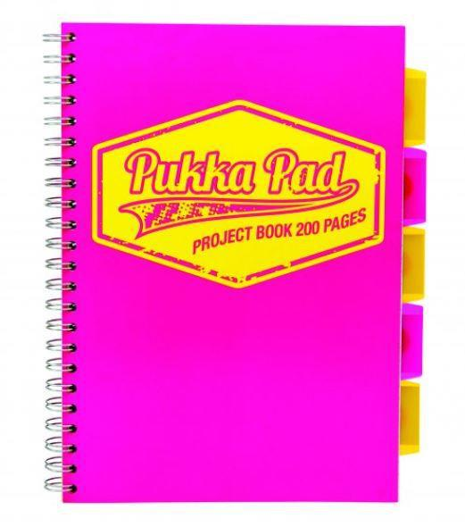 Project Book Neon A4 pink squared
