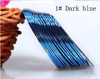 Műköröm díszítő csík 1-Dark blue
