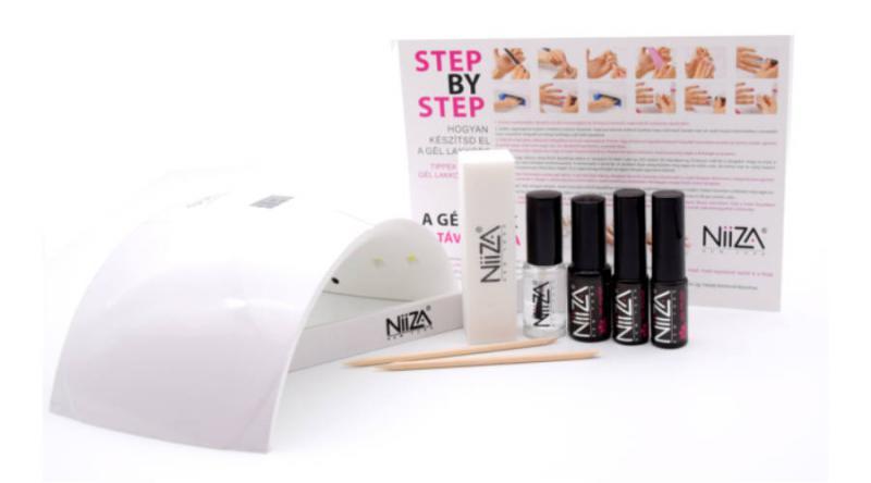 NiiZA Géllakk szett fixálásmentes fedőlakkal + 24W UV/LED lámpa (fehér)
