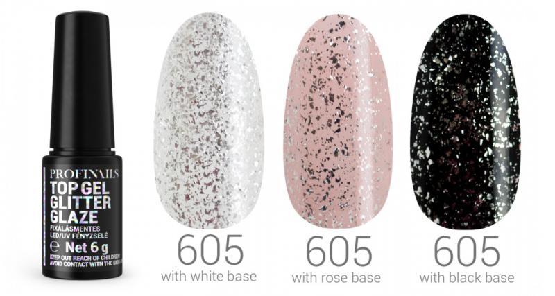 Profinails Top Gél Glitter Glaze fixálásmentes LED/UV fényzselé 6g No. 605