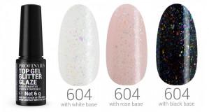 Profinails Top Gél Glitter Glaze fixálásmentes LED/UV fényzselé 6g No. 604