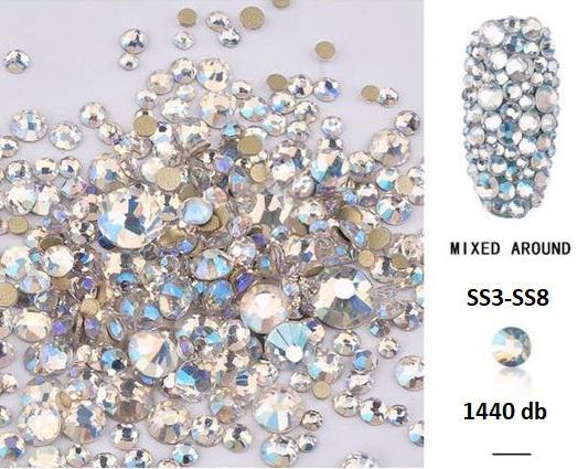 Vegyes méretű körömdísz Aqua Crystal Ab 1440 db