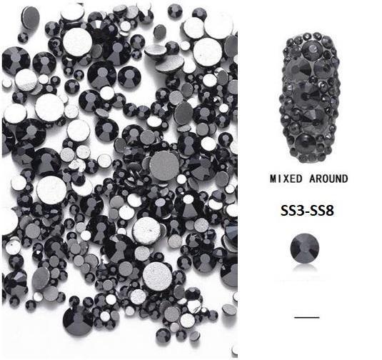 Vegyes méretű kristálykő 720 db 10.  Jet Black