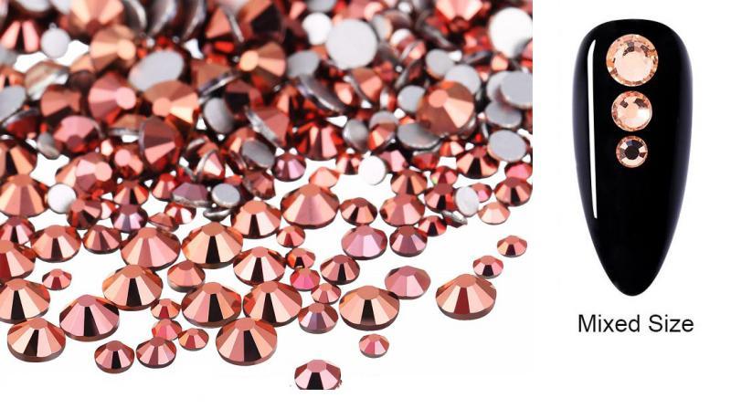 Vegyes méretű kristálykő 720 db 16. ROSE GOLD
