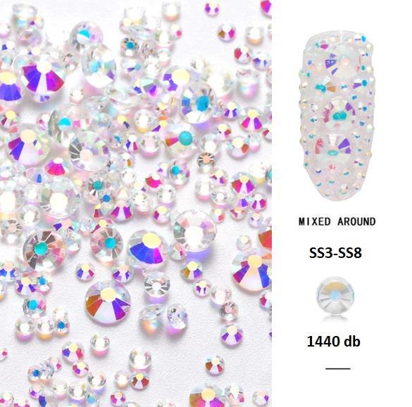 Vegyes méretű kristálykő Cyrkonii Clear 1440 db