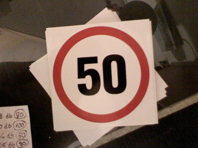 Maximális sebesség matrica 50 Km