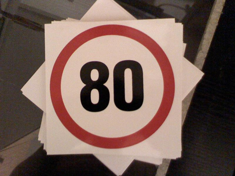 Maximális sebesség matrica 80 Km