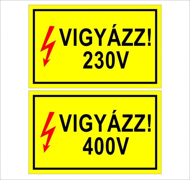 Vigyázz! 230V/400V matrica