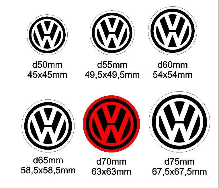Volkswagen felniközép matrica szett 1. típus 60 mm