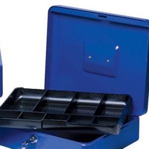 Pénzkazetta 30 cm kék két kulccsal