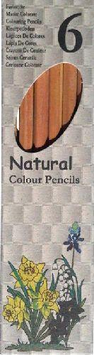 Színes ceruza, 6 darabos készlet, natúr