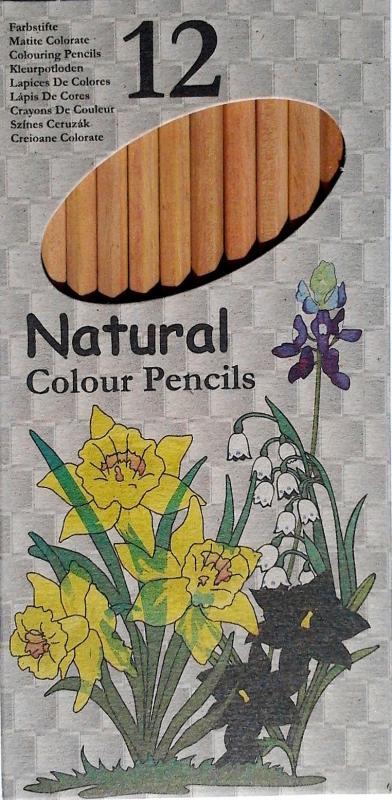 Színes ceruza készlet, 12 darabos, natúr fából