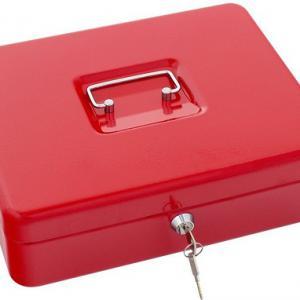 Pénzkazetta 30 cm piros aprópénz tartóval