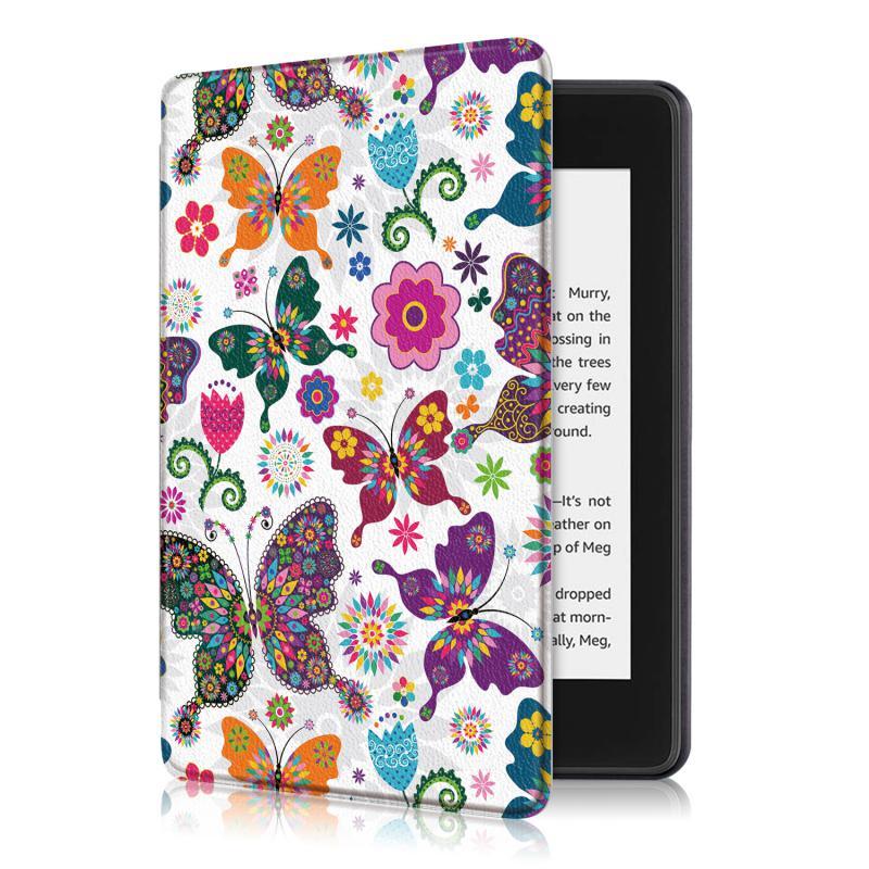 Kindle 10 (2019) 4GB mágneses Smart Védőtok Pillangó - virág mintával