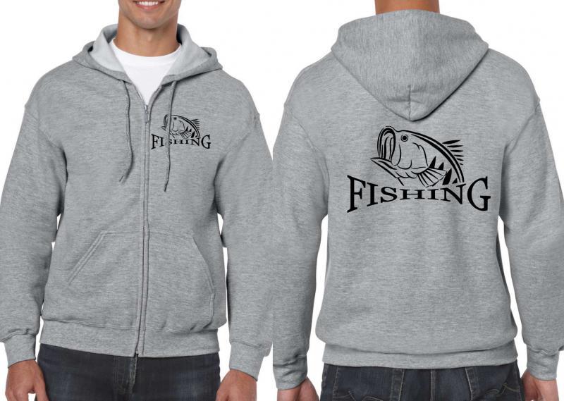 Horgászos unisex cipzáros pulóver