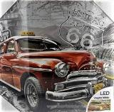 Kép piros autóval/led