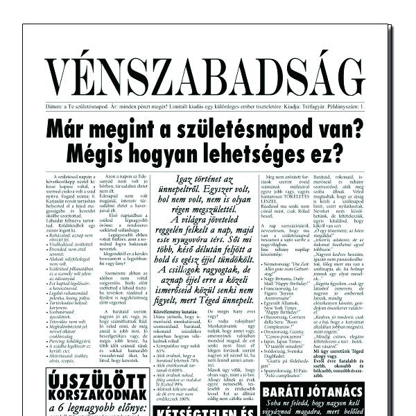 41 születésnapi köszöntő Születésnapi újság (vénszabadság) 41 születésnapi köszöntő
