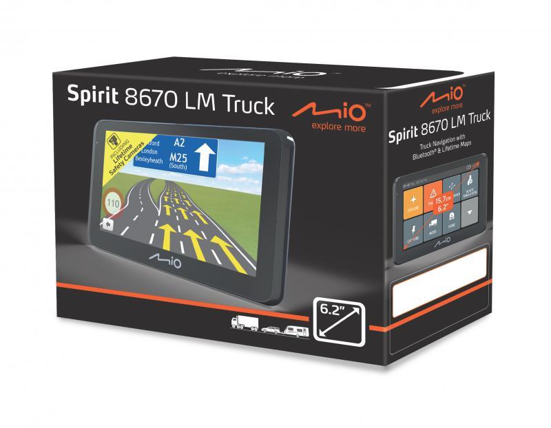 """MIO SPIRIT 8670 LM TRUCK TELJES EURÓPA TÉRKÉPPEL 6,2"""" GPS NAVIGÁCIÓ BT+TMC"""
