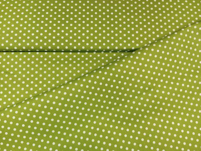Babos pöttyös pamut vászon borsózöld 140 cm széles