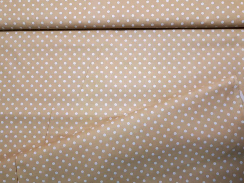 Babos pöttyös pamut vászon drapp 140 cm széles