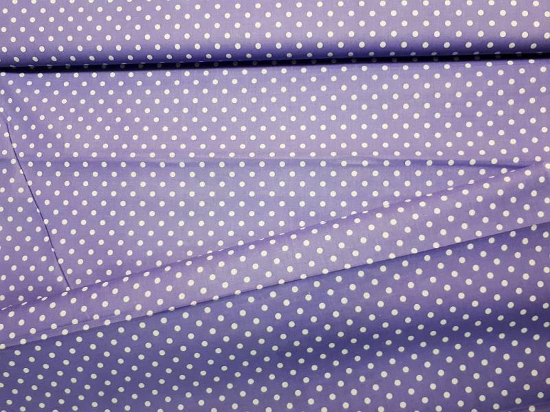Babos pöttyös pamut vászon lila 140 cm széles