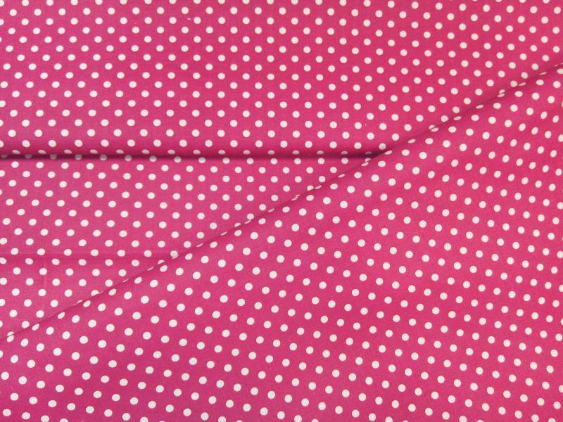 Babos pöttyös pamut vászon pink 140 cm széles