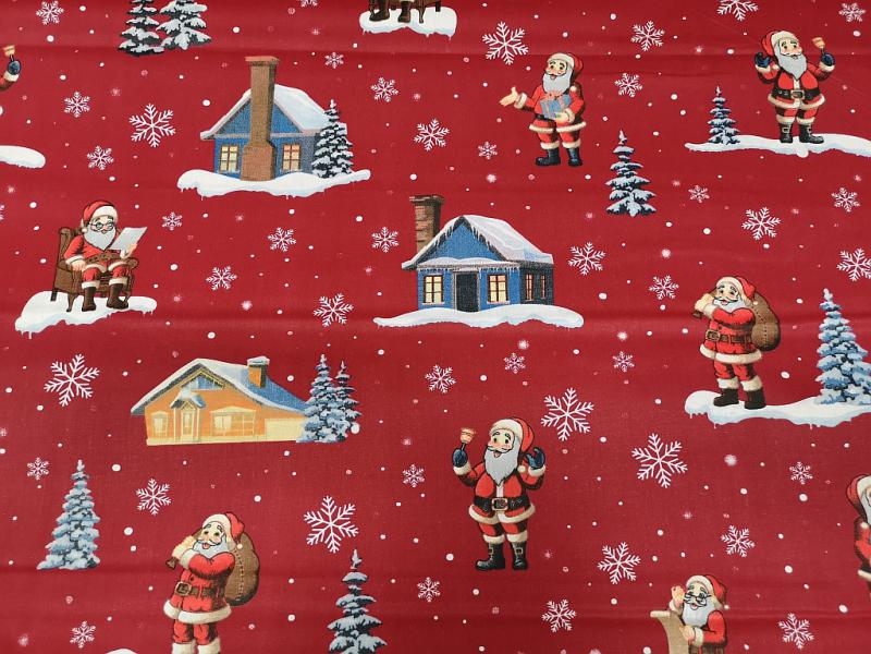 Damaszt teflonos karácsonyi mintás piros vászon 160 cm széles
