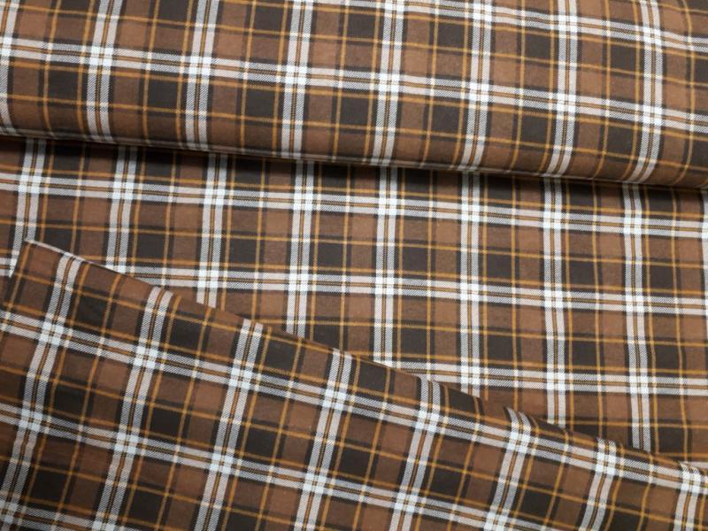 Flanel barna kockás 140 cm széles