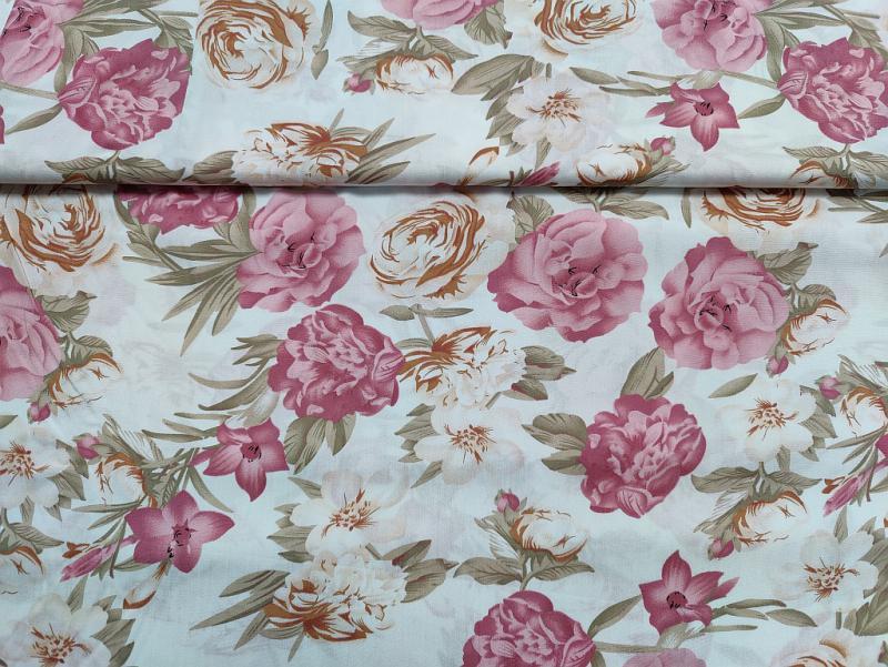 Flokon fehér alapon rózsák 140 cm széles