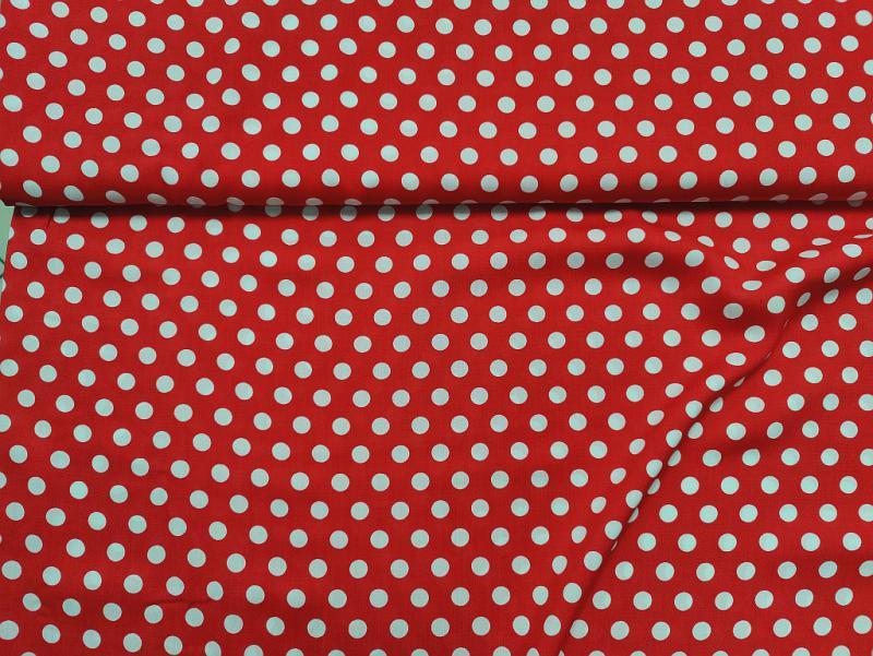 Flokon piros fehér pöttyös 140 cm széles