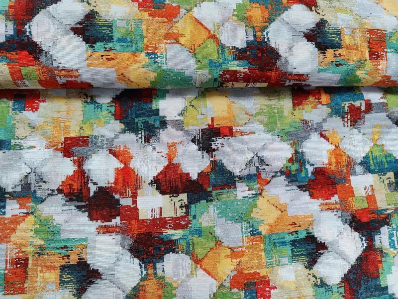 Lakástextil  bordó-szürke-drapp geometriák 140 cm széles