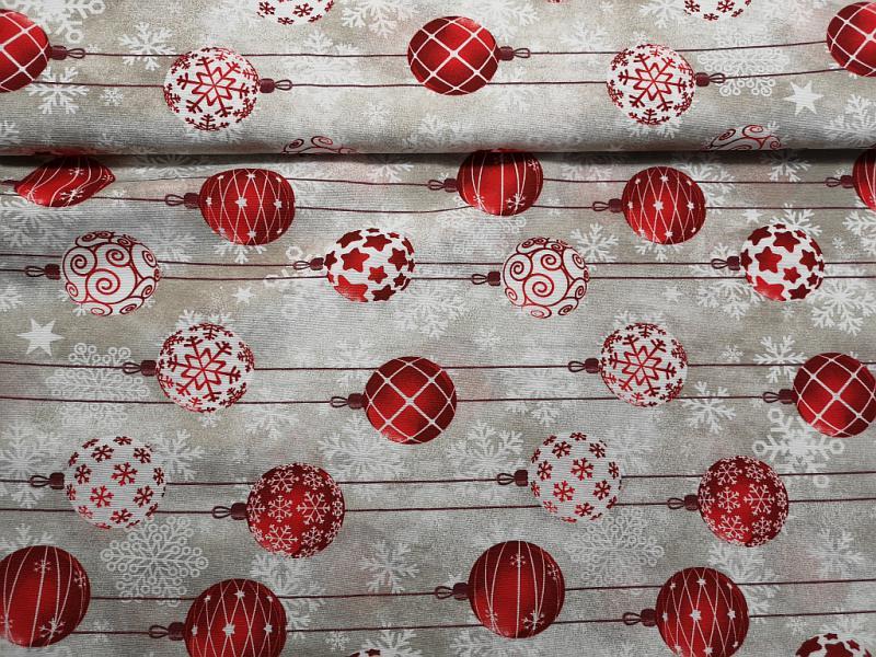 Lakástextil karácsonyi piros-fehér gömbdíszekkel 140 cm széles