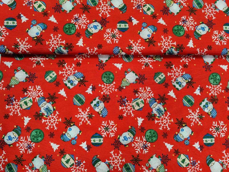 Lakástextil karácsonyi piros-fehér-zöld télapós 140 cm széles