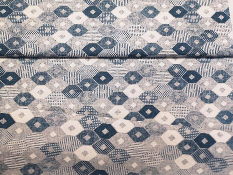 Lakástextil kék-szürke rombuszminták 140 cm széles