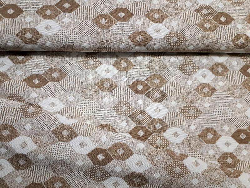 Lakástextil vászon drapp rombuszmintás 140 cm széles